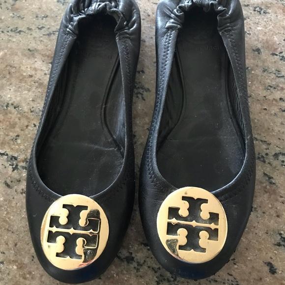 eb64f cc7ee Womens Tory Burch black leather flats size 6 12 good ... 9105b67a3